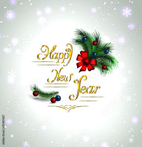 festive Christmas tree. vector border. happy new year card \