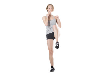 Sporty woman doing exercise routine
