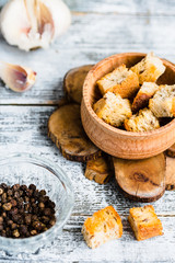 ruddy homemade croutons with garlic and spices