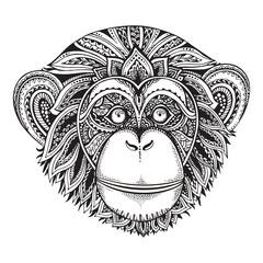 Hand drawn monochrome vector illustration of ornate zentagle chi