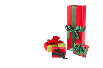 color gift boxes on white background - copy space
