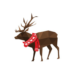 Illustration of origami deer with Christmas scarf
