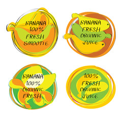 Fresh juice -  Health Food Headings vector set  - Banana juice circle stickers with inscription fresh. Calligraphic Organic food hand drawn icons collection isolated on white background. Eps 10.