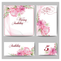 Wedding invitation cards  with blooming flowers. (Use for Boarding Pass, invitations, thank you card.) Template Vector.