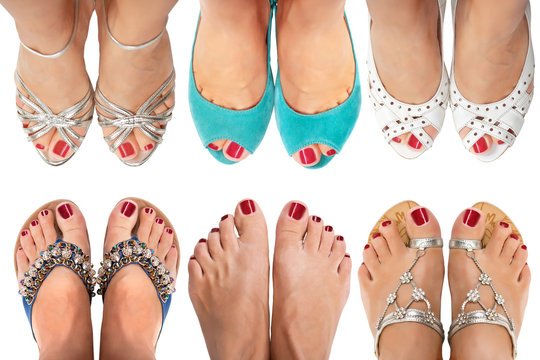 Six pairs of women's legs in different sandals on a white background.The view from the top.
