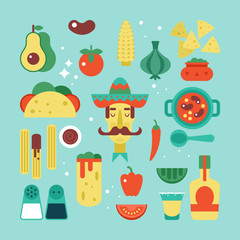 Mexican food flat stylish icon set. Vector illustration