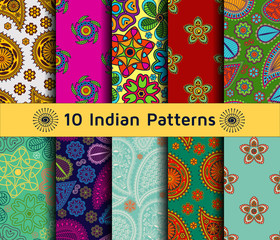 Set of Indian seamless patterns. Paisley backgrounds in ethnic style. Each pattern has been saved in swatch folder. Vector illustration.