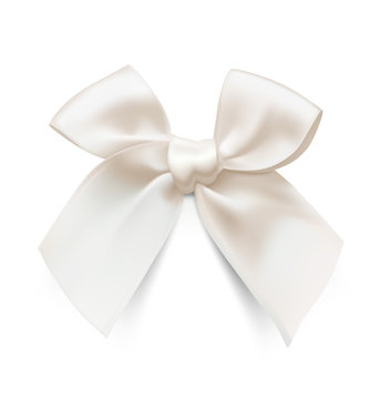 White bow isolated on white background. Vector illustration