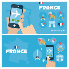 Modern banner vector illustration icons set of france traveling, planning a summer vacation. Flat design style. Vector