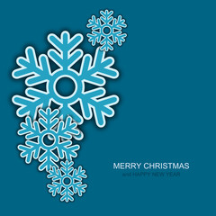 Vector modern christmas snowflakes on blue