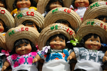 Colorful Mexican dolls with sombreros