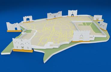 Le porte di Gerusalemme, cartina città vecchia, Israele