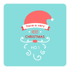 Christmas flat Santa Card with  Christmas hat and beard- in vector