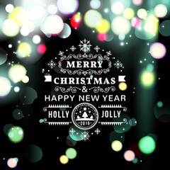 Christmas greeting card with Christmas typography , bokeh  vector background.