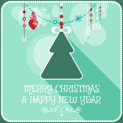 Christmas card ornament decoration background. Christmas tree. Vector illustration Eps 10. Happy new year message,