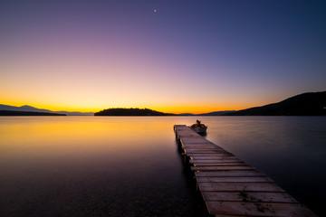 Sunrise on the bay of Nidri in Lefkas island