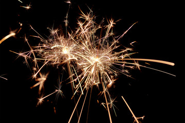 Sparklers. Christmas and New Year Lights.