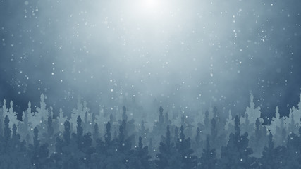 fir trees and snowfall