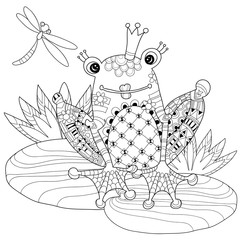 Cute Frog Prince in crown with lotus.Vector illustration zentangle  isolated ready for coloring book.