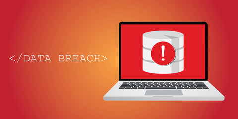 data breach security warning with notebok, and database warning