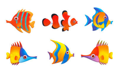 Stock Vector Illustration:Cute fish collection set isolated on w