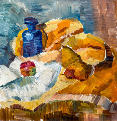Still Life Illustration with bottle, apple, pear. Painting Style. Oil on canvas.