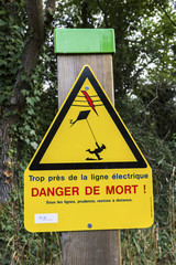 Electrical hazard sign in France