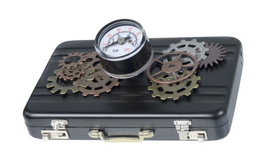 Briefcase with Gauge and Gears