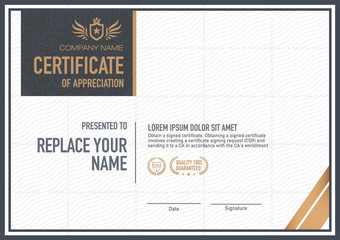 Vector certificate template. luxurious, unique