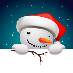 Cute funny snowman holding white page, greeting Christmas card
