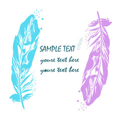 Set of vector colorful feathers