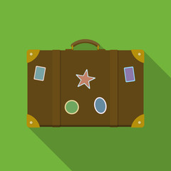 Vector illustration. Icon square shape of brown suitcase with stickers in flat design
