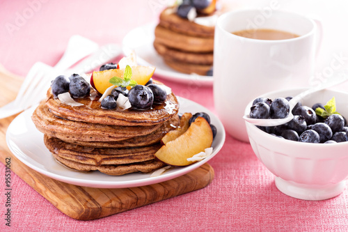 "Cinnamon coconut flour pancakes with fresh fruits"" Stock photo and ..."