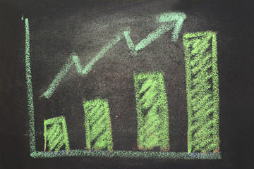 close up of chalkboard with growth business graph chart
