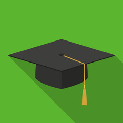 Vector illustration. Icon square shape of academic cap in flat design