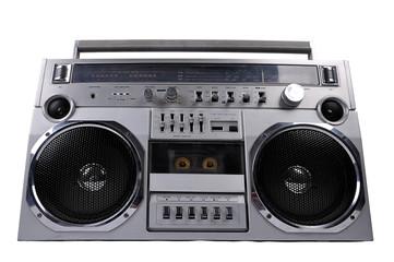 1980s Silver retro ghetto radio boom box isolated on white