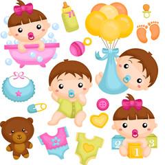 Babies in Action Vector Set