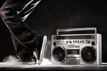 Retro ghetto boom box, dust and dancer isolated on black with cl