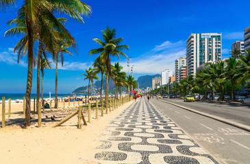 Ipanema beach with mosaic of sidewalk in Rio de Janeiro. Brazil Wall mural