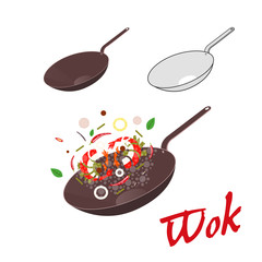 Wok illustration. Asian frying pan