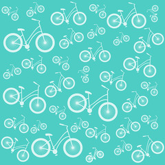Bicycle blue vector seamless pattern