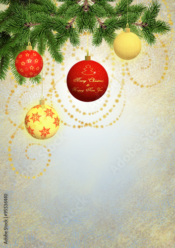 Merry Christmas and Happy New Year greetings card\