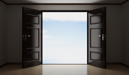 3d illustration of abstract images (of the room opened the door behind which the sky is clear)
