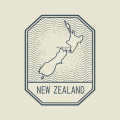 Stamp with the name and map of New Zealand