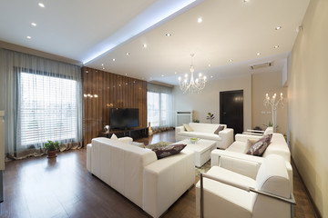 Interior of a spacious living room  in luxury apartment
