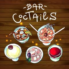 coctails bar top view
