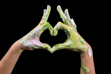 Love Shape Hand. Painted hands make a heart shape.