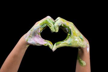 Love Shape Hand. Painted hands make a heart shape.