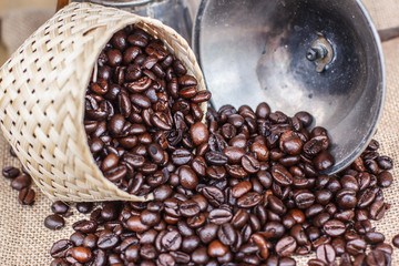 Coffee beans in a bamboo basket