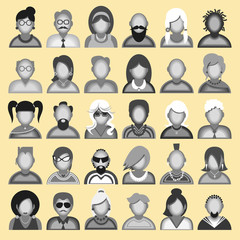 Creative modern icons avatars with people.